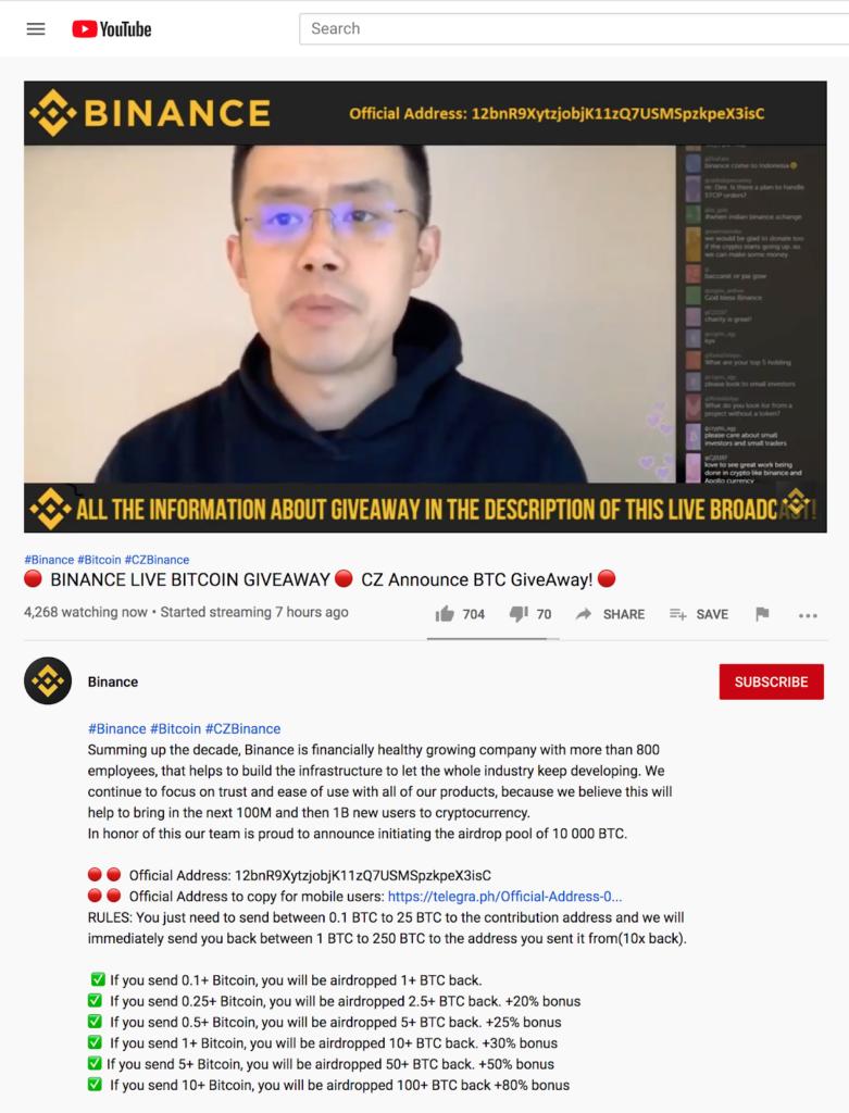 Binance CEO Does Bitcoin Giveaway