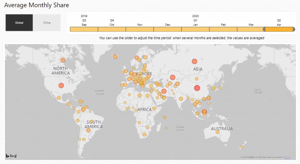 خريطة تعدين البيتكوين BTC | المصدر: جامعة كامبريدج